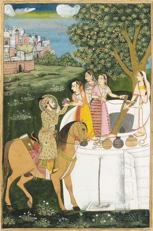 A PRINCE RECEIVING WATER FROM LADIES AT A WELL Mughal India, circa 1800