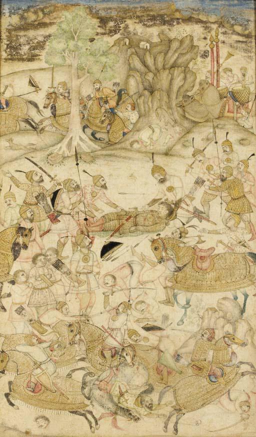 BATTLE SCENE Mughal India, cir