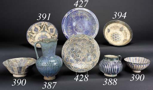 A Kashan blue and cream glazed squat pottery jar