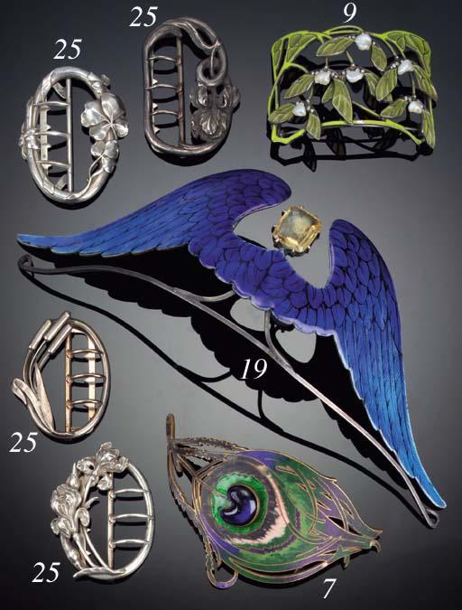An Art Nouveau peacock feather belt buckle by Piel Freres