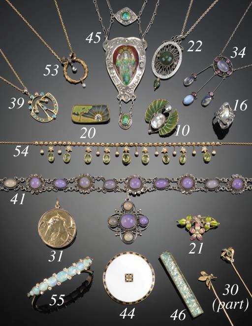 A German Art Nouveau silver, moonstone and gem necklace