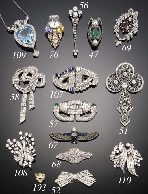 A Russian, green tourmaline, rose-cut diamond and blister pearl brooch,