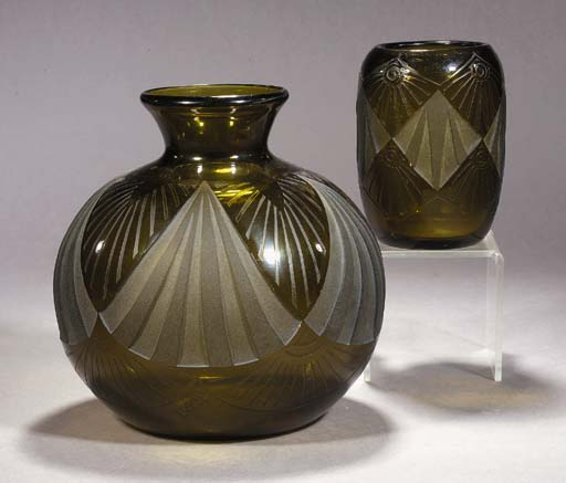 A PAIR OF GLASS VASES