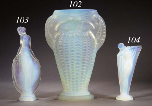 AN OPALESCENT GLASS VASE