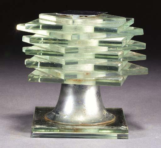 A GLASS AND ALUMINIUM TABLE LA