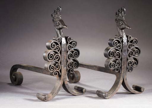 A PAIR OF WROUGHT-IRON FIREDOG