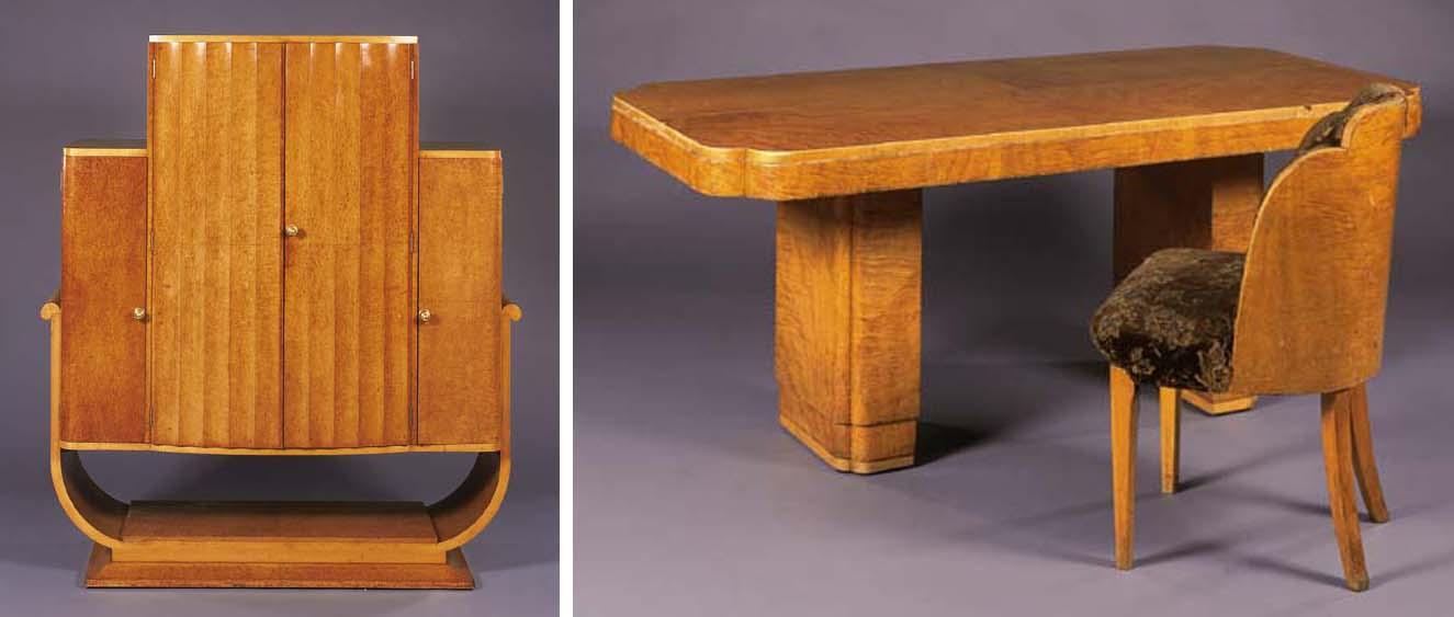 A SATINWOOD DINING SUITE