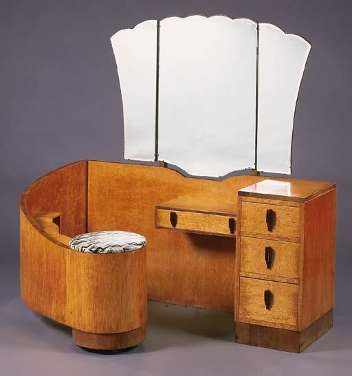 A Birds Eye Maple And Walnut Dressing Table English