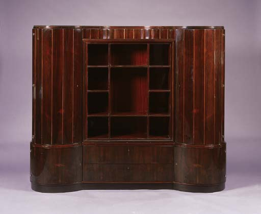 A ROSEWOOD DISPLAY CABINET
