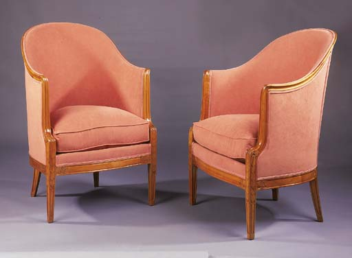 A PAIR OF FRUITWOOD BERGERES