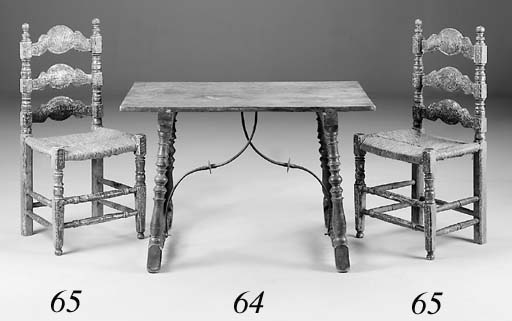 A Spanish walnut table, 19th century