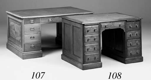 A mahogany pedestal desk, 19th century