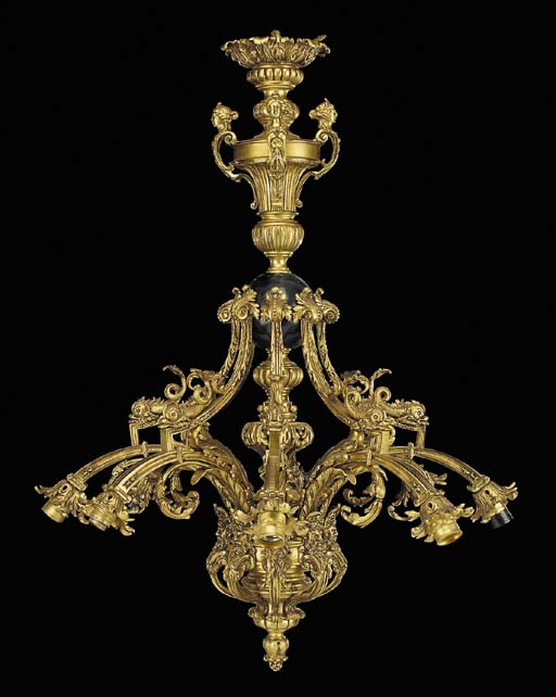 A French gilt bronze eight lig