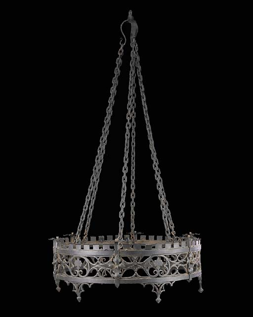 A wrought iron chandelier, cir