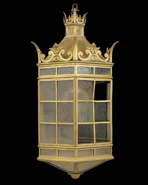 A large gilt bronze hexagonal