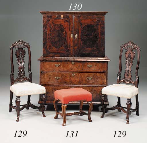 A Queen Anne walnut stool, ear