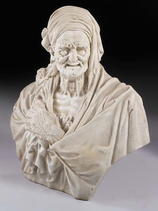 A large white marble bust of a