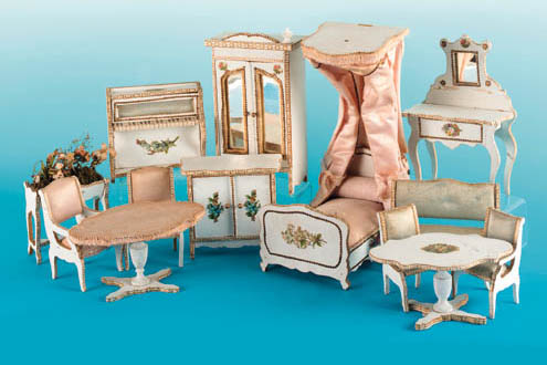 A set of white painted bedroom furniture for the French market