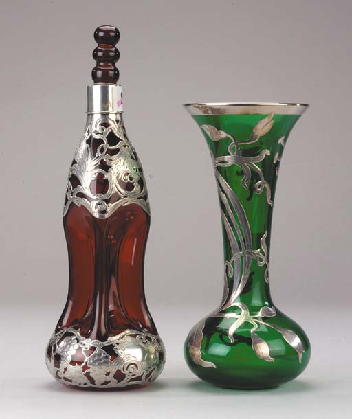 A ruby claret decanter