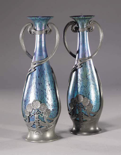 A pair of pewter-mounted Loetz