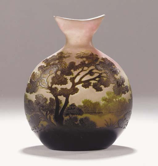 A Gallé cameo glass flask vase