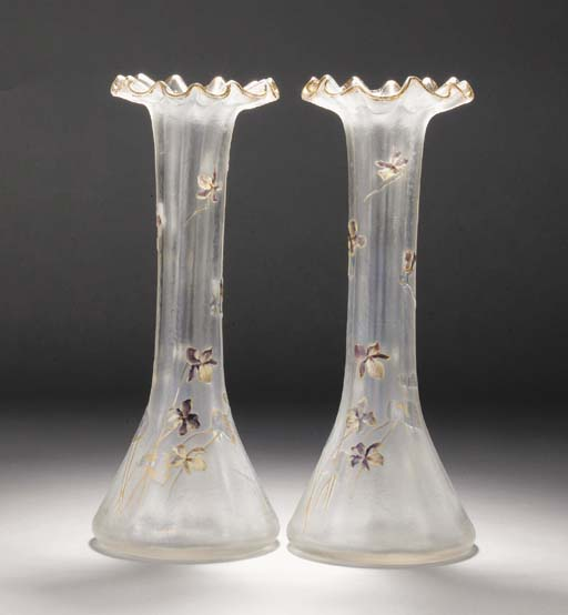 A pair of French enamel and ac