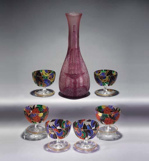 A Legras cameo enamelled glass