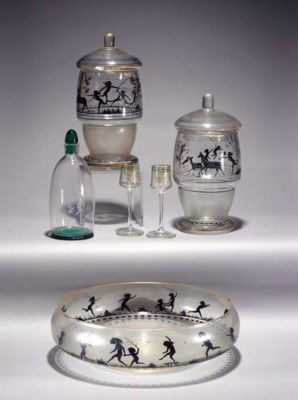 An enamelled glass bowl and a