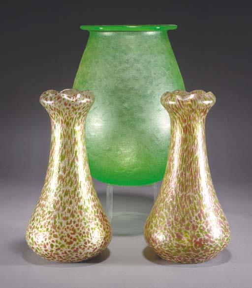 A Daum acid-etched glass vase,