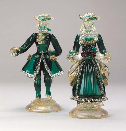 A pair of Murano glass figures