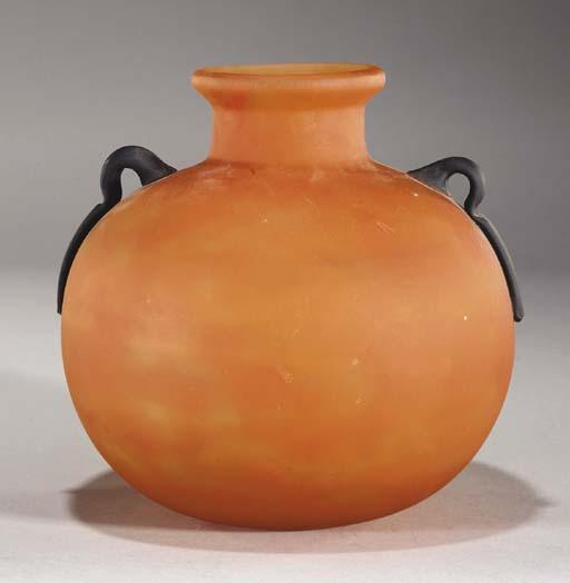 A Schneider applied glass vase