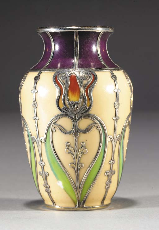 A metal-mounted porcelain vase