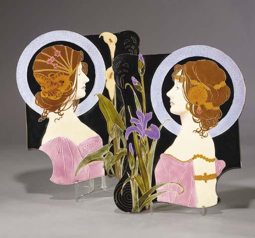 A pair of Art Nouveau polychro