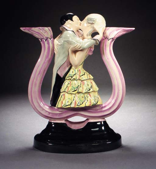 An Italian figural pottery can