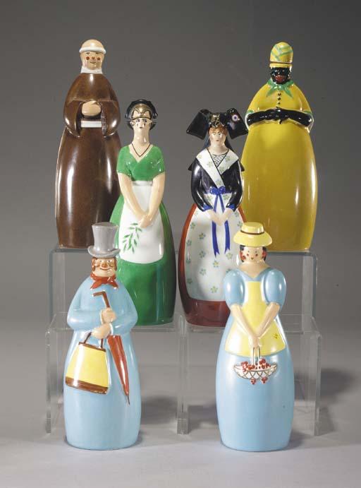 Six Robj ceramic decanters,