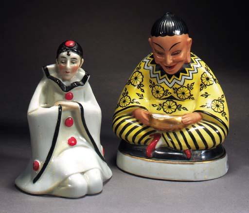 A polychrome pottery figural q