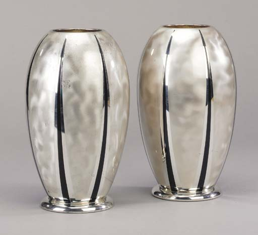 A pair of WMF metal Ikora vase