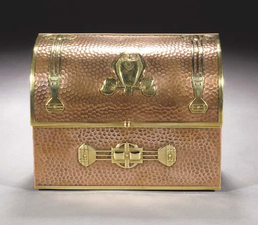An Art Nouveau brass and coppe