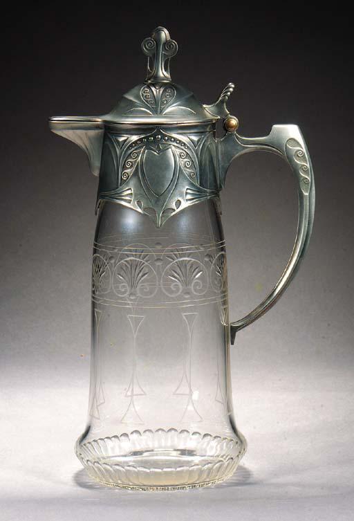 An Art Nouveau silvered metal