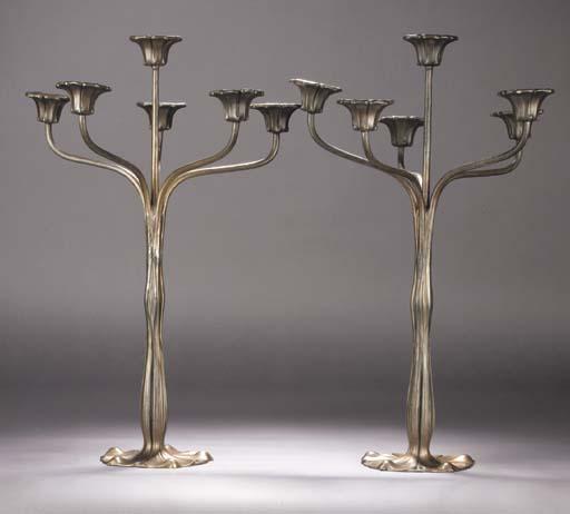 A pair of Art Nouveau patinate