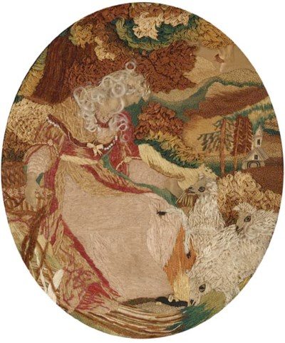 An oval embroidered picture, w