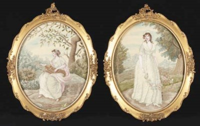 A pair of oval embroidered pic