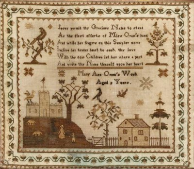 A sampler by Mary Ann Oram age
