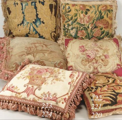 A pair of tapestry cushions, e