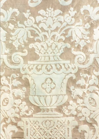 A Fortuny fitted bedcover, the