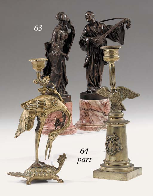 A pair of French brass candlesticks, late 19th century