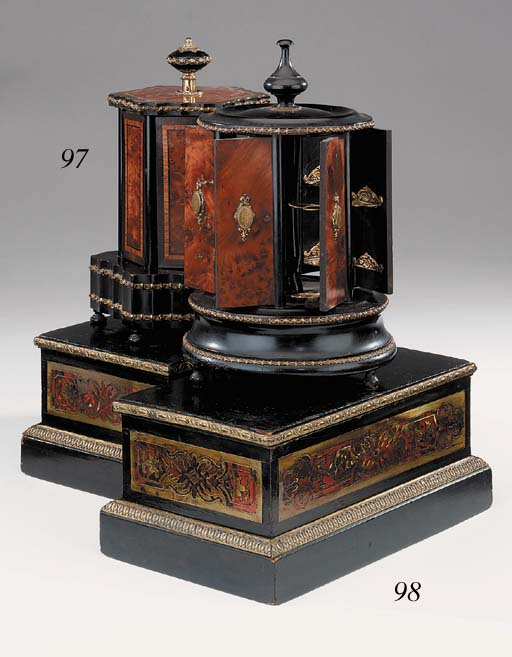 A pair of Continental Boulle style ebonised wood and brass mounted plinths, late 19th century