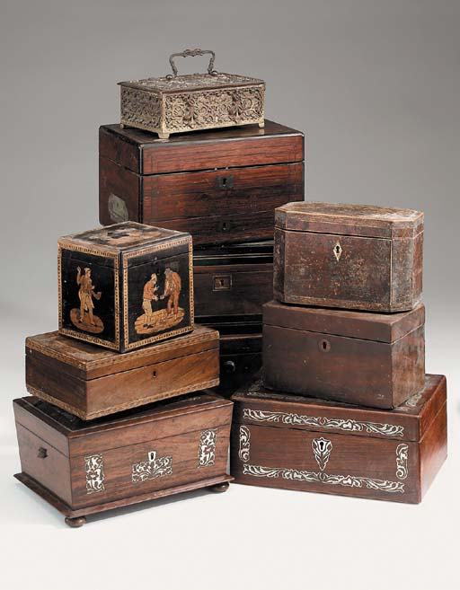 A collection of various boxes, 18th, 19th and early 20th century