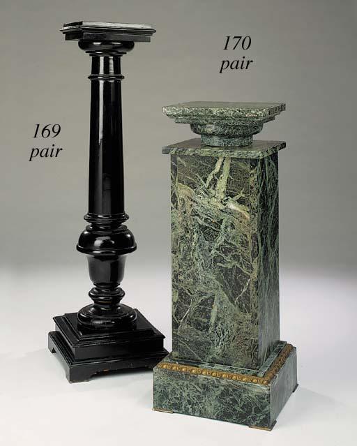 A pair of Victorian ebonised wood plinths, last quarter 19th century