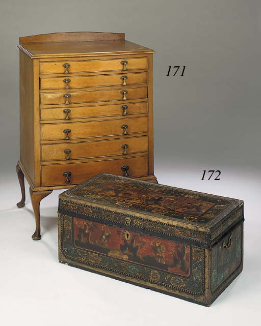 A Chinese export polychrome painted and brass mounted camphor-wood trunk, late 19th century